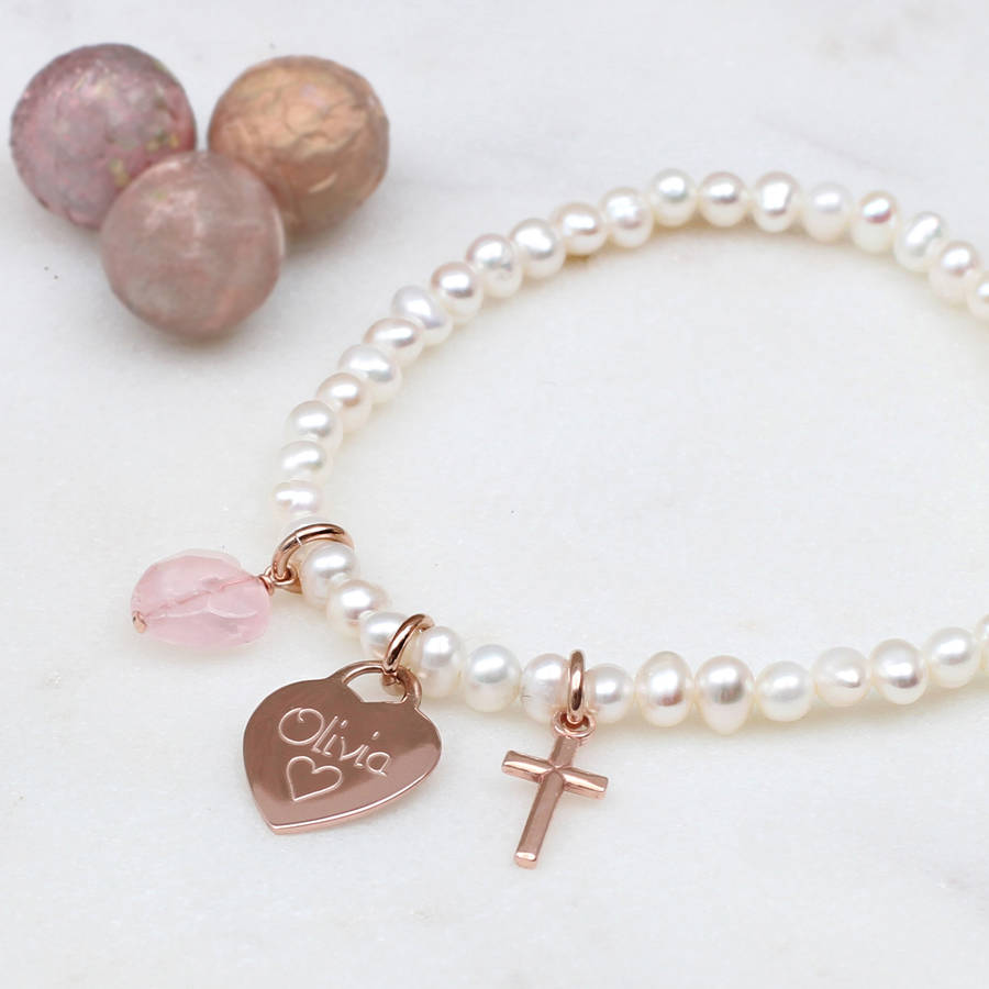 girl\'s personalised rose gold christening bracelet by hurleyburley ...