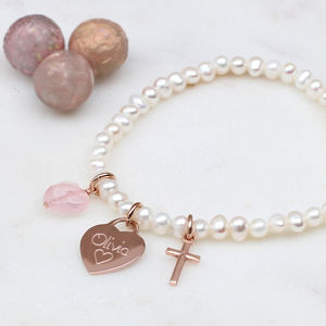 Girl's Personalised Rose Gold Christening Bracelet - bracelets