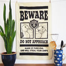 Evil Seaside Seagull Funny Tea Towel