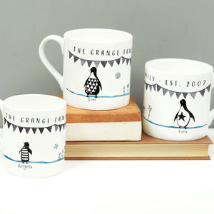 Personalised Penguin Family Mug Set