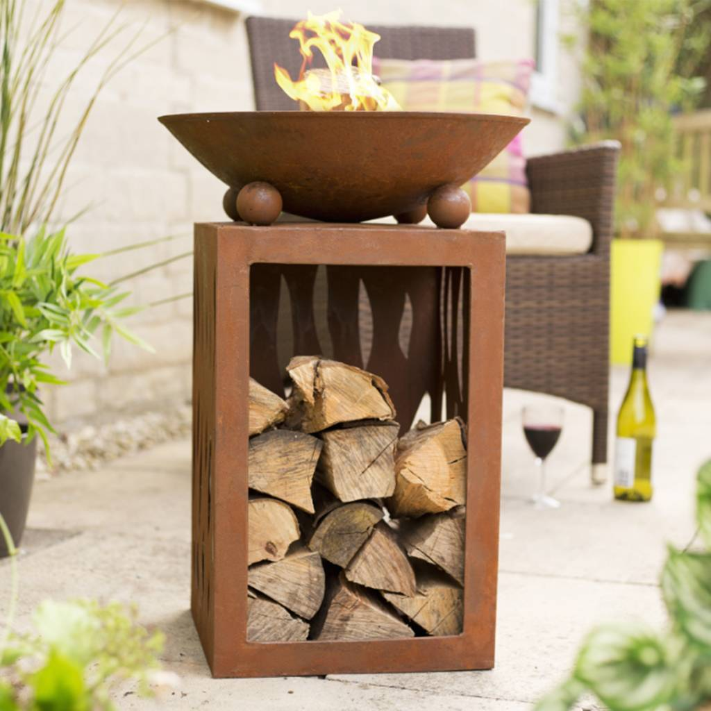 Tall Firepit With Wood Store