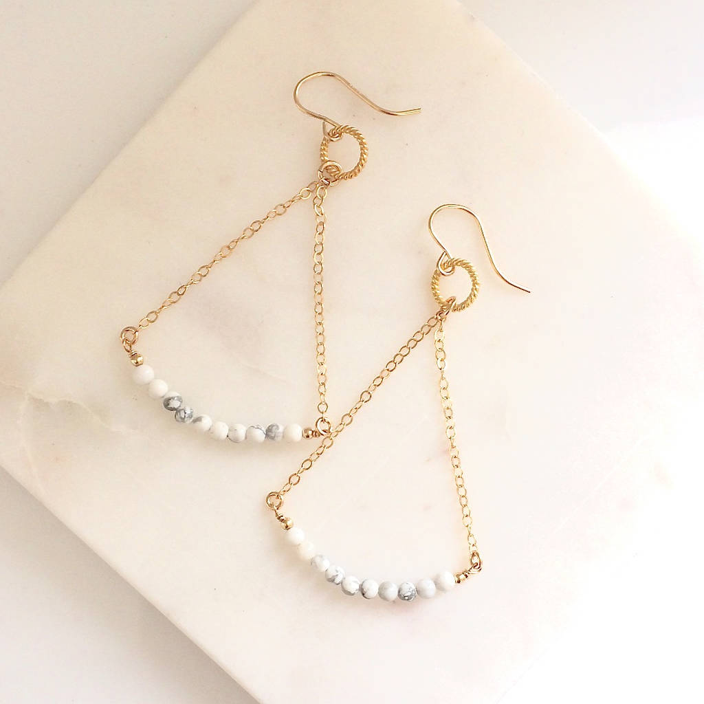 Gold Balance Earrings In Marble
