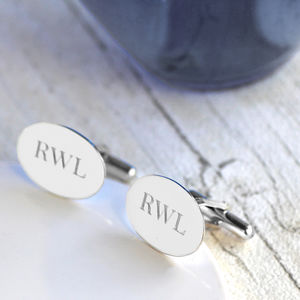 Engraved Initial Silver Cufflinks - gifts for him
