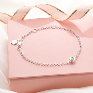 May Emerald Birthstone Bracelet - christening jewellery
