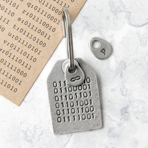 Binary Code Message Keyring - winter sale