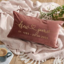 Pink engagement velvet cushion