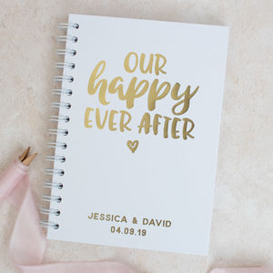 Personalised 'Happy Ever After' Wedding Notebook - planners & records