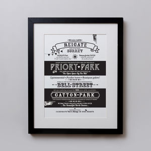 Reigate Location Typography Print - maps & locations