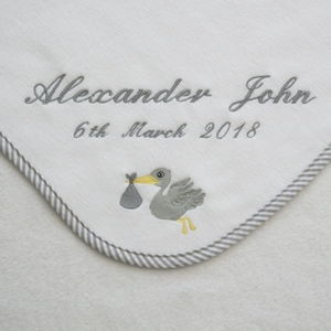Personalised Embroidered Baby Blanket With Stork Motif