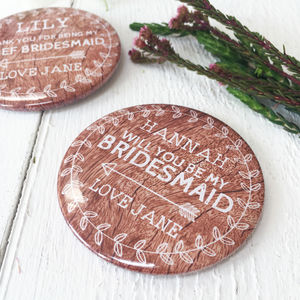 Woodland Thank You Or Be My Bridesmaid Mirror Gift
