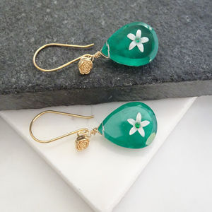 Emerald Green Topaz Earrings In Gold Vermeil