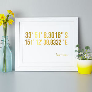 Personalised Coordinates Gold Foil Print - mixed media & collage