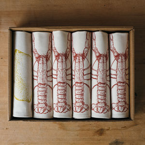 Handmade Lobster And Lemon Napkins - napkins