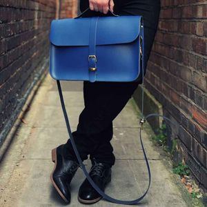 Leather Retro Briefcase Satchel - laptop bags & cases