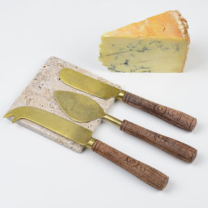 Brass Cheese Knives Set - kitchen accessories