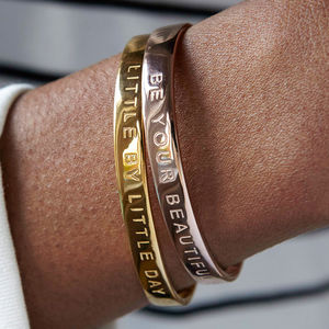 Silver Rose Gold Message Bangles - gifts for her