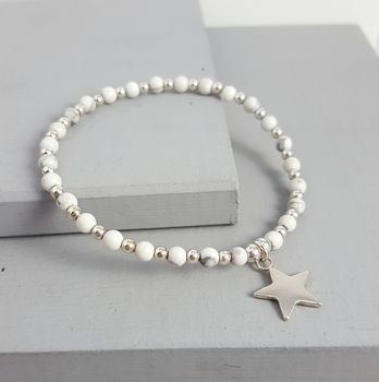 Silver Star And Semi Precious Stone Stacking Bracelet