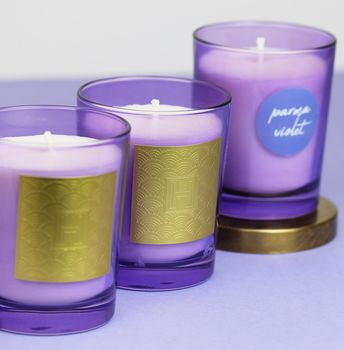 Parma Violet Cocktail Scented Candle In Purple Glass