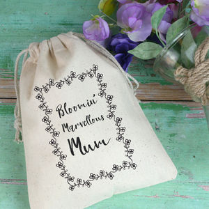 Floral Border Gift Bag For Mum With Seeds