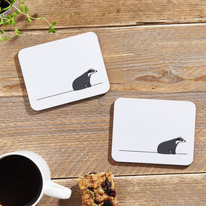 Badger Coasters, Set Of Two