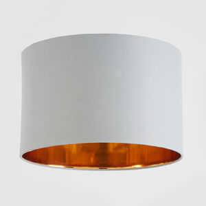 Grey And Copper Drum Lampshade - lampshades
