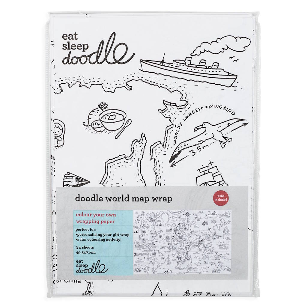 Colour In World Map Wrapping Paper By Eatsleepdoodle