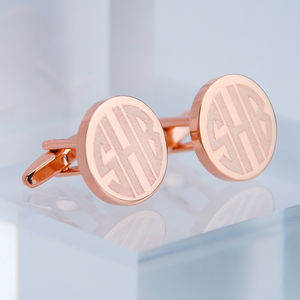 Contemporary Rose Gold Monogram Cufflinks - men's accessories