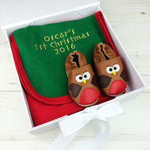 Personalised First Christmas Robin Baby Shoes Gift Set - baby's first christmas
