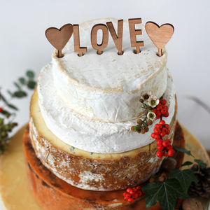 Wooden Love Wedding Cake Topper With Hearts - table decorations