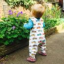 New! Campervans Organic Romper, Dungarees Ready To Ship