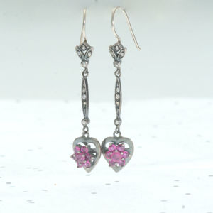 Heart Ruby Drop Earrings - earrings
