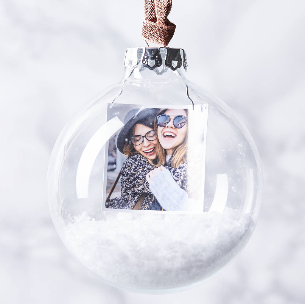 Personalised Christmas Baubles Photo: Personalised Photo Snow Christmas Bauble By Sophia
