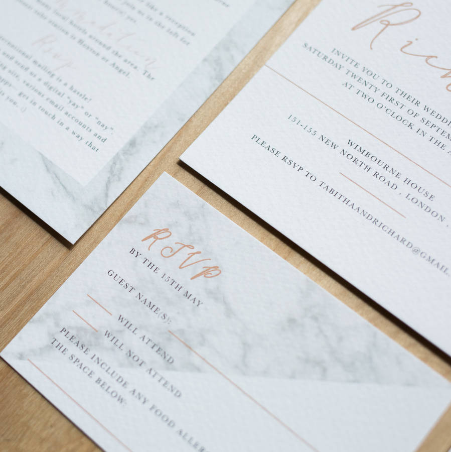 Modern Marble Wedding Invitation By Sincerely May
