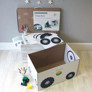 Personalised Cardboard Box Tractor Kit With Box