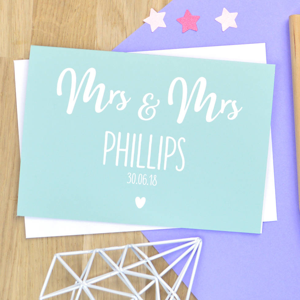 Personalised Mrs And Mrs Wedding Card