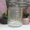 Glass Lantern With Gold Handles