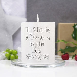 1st Christmas Together Mistletoe Candle For Couples