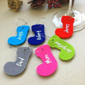 Personalised Felt Christmas Wine Glass Charms