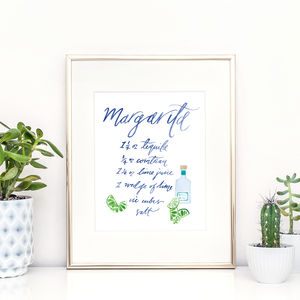 Illustrated Margarita Cocktail Recipe Print - food & drink prints