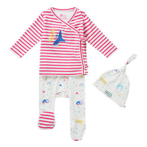 Baby Girls Pink Stripe Rainforest Three Piece Set