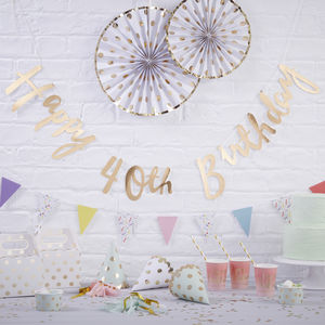 Gold Foiled Happy 40th Birthday Bunting Backdrop