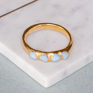 Personalised Birthstone Aquamarine Ring - rings