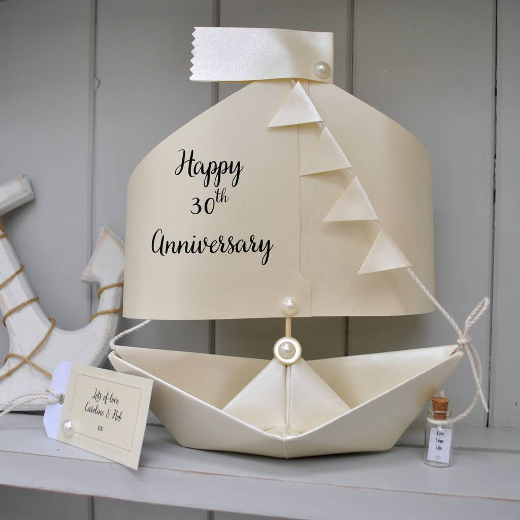30th pearl wedding anniversary paper boat card by the little ...