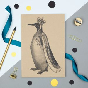 Personalised A5 Notebook, King Penguin