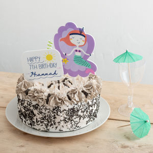 Personalised Birthday Girl Mermaid And Sign Cake Topper