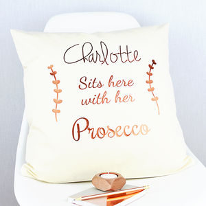 Personalised Copper Prosecco Cushion