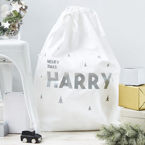 Little Trees Personalised Christmas Sack - christmas decorations
