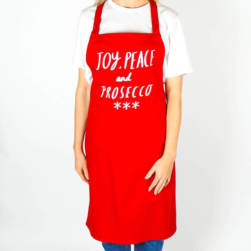 joy peace and prosecco christmas apron - Christmas Apron
