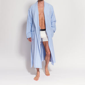 Men's Blue Stripe Two Fold Flannel Robe - men's fashion