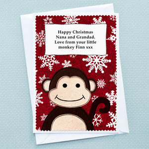 'Little Monkey' Christmas Card From Children